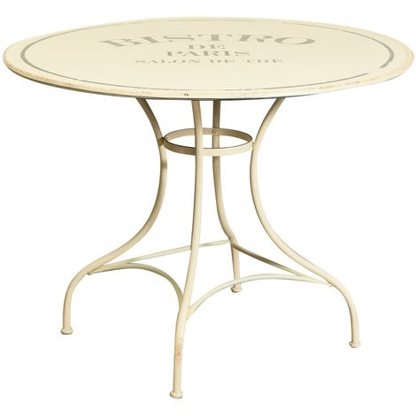 """Table """"Bistro de Paris"""" in iron antiqued white finish L100xPR100xH75 cm"""