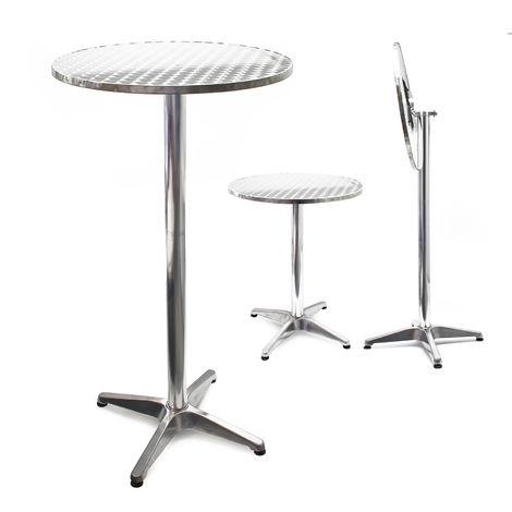 Table bistro haute de bar Aluminium Pliable Réglage en hauteur 74/114cm Ø60cm Meuble Terrasse Salon