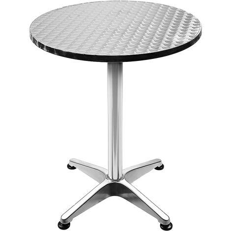 Table bistro haute de bar Aluminium Réglage en hauteur 70/110 cm Ø 60 cm Meuble Terrasse Salon - argent - Argent