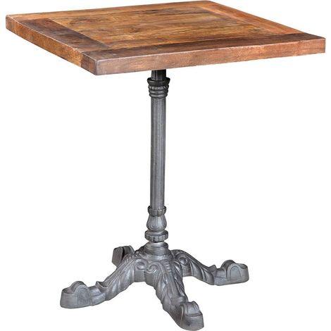 Table bistrot carrée pieds en fer forgé
