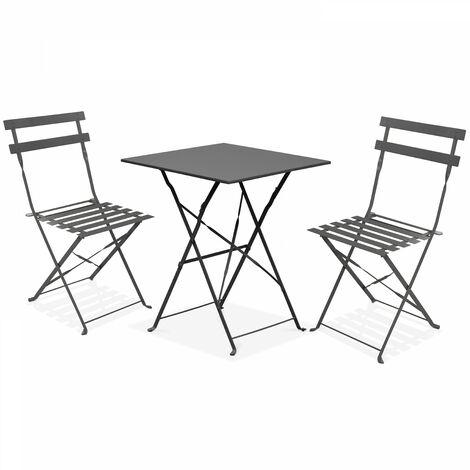 Table bistrot de jardin et 2 chaises pliantes