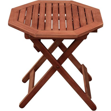Table bistrot de jardin terrasses marron eucalyptus balcon mobilier d'extérieur bois huilé Harms 958194