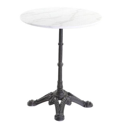 Table bistrot en marbre blanc et métal noir CONTY - 43562
