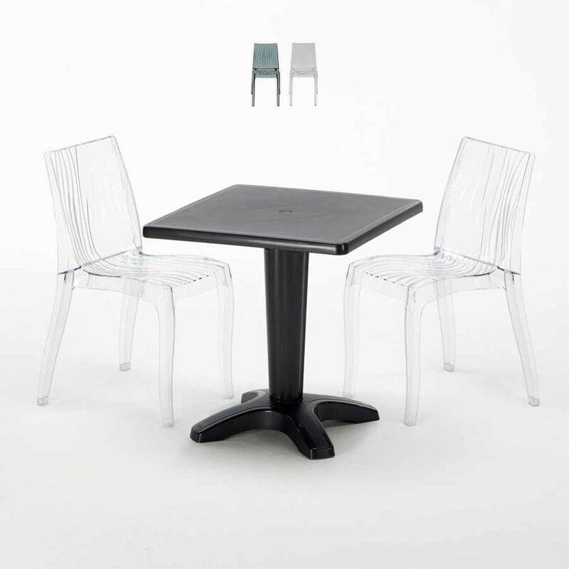Table Carrée Noire 70x70cm Avec 2 Chaises Colorées Set Bar Café Dune Balcony | Transparent - Grand Soleil