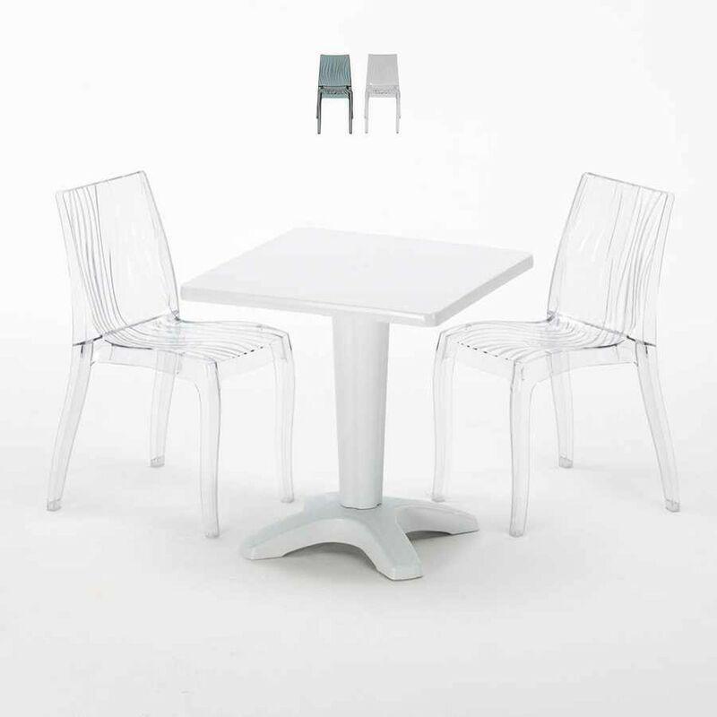 Table Carrée Blanche 70x70cm Avec 2 Chaises Colorées Set Bar Café Dune Terrace | Transparent - Grand Soleil