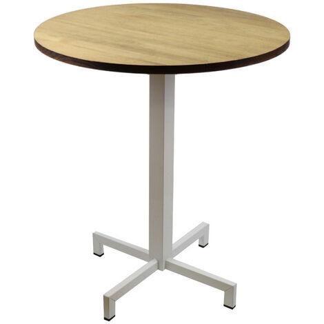 Table bistrot Icub. De pied central plateau rond 70dia - industriel vintage – 60x60x75h. cm - Metal Blanc