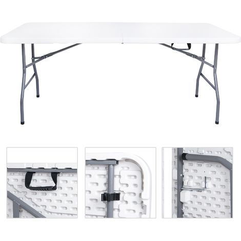Table buffet pliante portable 180 cm EAZY Blanc pour camping ou réception