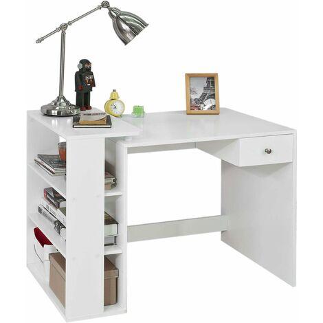 Table Bureau Informatique Plan de Travail avec 3 étagères et 1 tiroir - Blanc FWT35-W SoBuy®