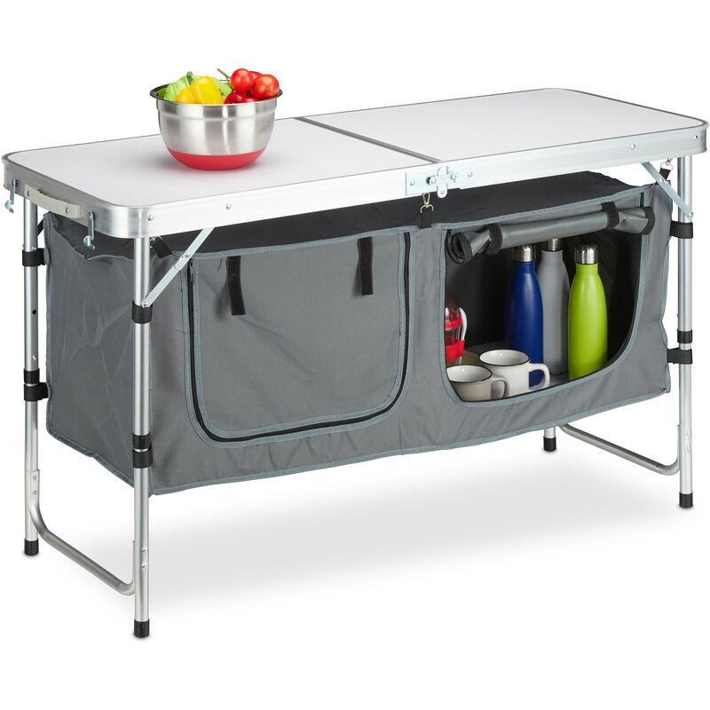 Relaxdays - Table camping, pliable, 120 chaises, réglable en hauteur, 120x60 cm,alu, MDF,gris/argent