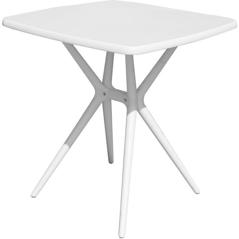 Table carrée en polypropylène coloris blanc - Dim : 70 x 70 x 76 cm -PEGANE-