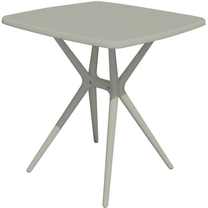 Pegane - Table carrée en polypropylène coloris gris tourterelle - Dim : 70 x 70 x 76 cm