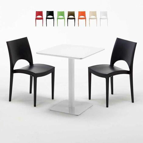 Table carrée 60x60 blanche avec 2 chaises colorées PARIS LEMON ...
