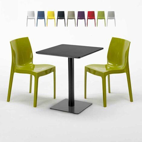 Ice Table Chaises Colorées Noire 60x60 Carrée 2 LicoriceVert Avec wOPX0Z8nNk