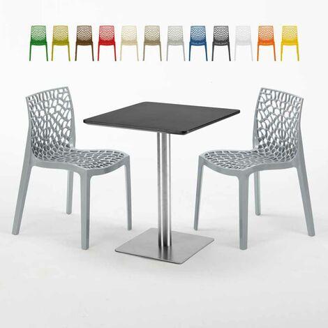 Colorées Plateau Noir Acier Carrée 2 Gruvyer Pistachio Et 60x60 Chaises Table Pied Avec ZkuPOXi