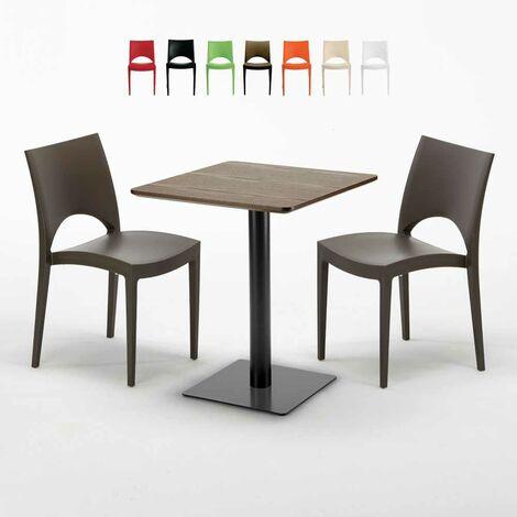 Table carrée 60x60 pied noir et plateau bois avec 2 chaises colorées PARIS KISS