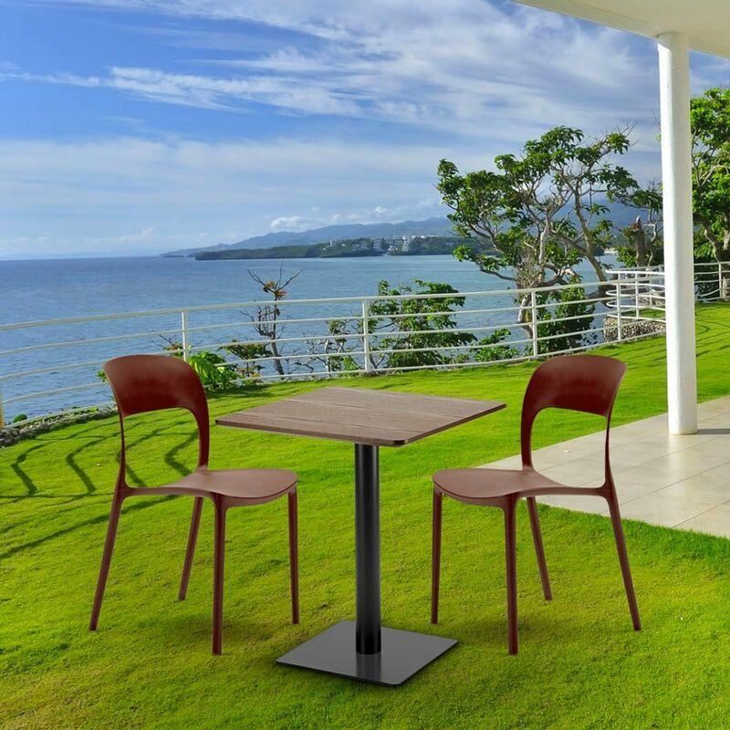 Table Carree 60x60 Pied Noir Et Plateau Bois Avec 2 Chaises