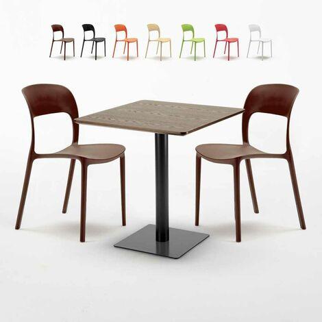Table carrée 60x60 pied noir et plateau bois avec 2 chaises colorées RESTAURANT KISS