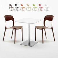 Table carrée plateau blanc RESTAURANT colorées 2 HAZELNUT chaises 60x60 avec 7IyvYbf6g
