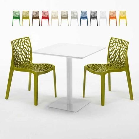Table carrée 70x70 blanche avec 2 chaises colorées GRUVYER MERINGUE