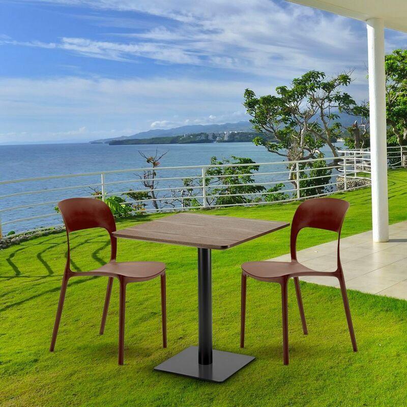carrée 2 Table 70x70 bois colorées RESTAURANT avec effet chaises MELON SMVpqUzG