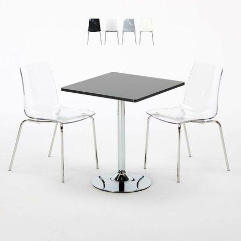 Table Carrée Blanche 70x70cm Avec 2 Chaises Colorées Et Transparentes Set Intérieur Bar Café LOLLIPOP TITANIUM