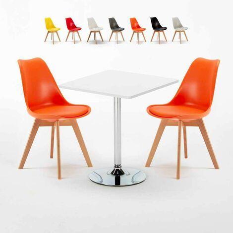 Table Carrée Blanche 70x70cm Avec 2 Chaises Colorées Set Intérieur Bar Café Nordica Cocktail