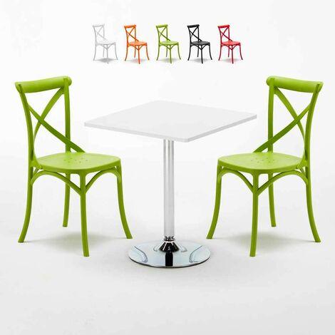 Table Carrée Blanche 70x70cm Avec 2 Chaises Colorées Set Intérieur Bar Café VINTAGE COCKTAIL