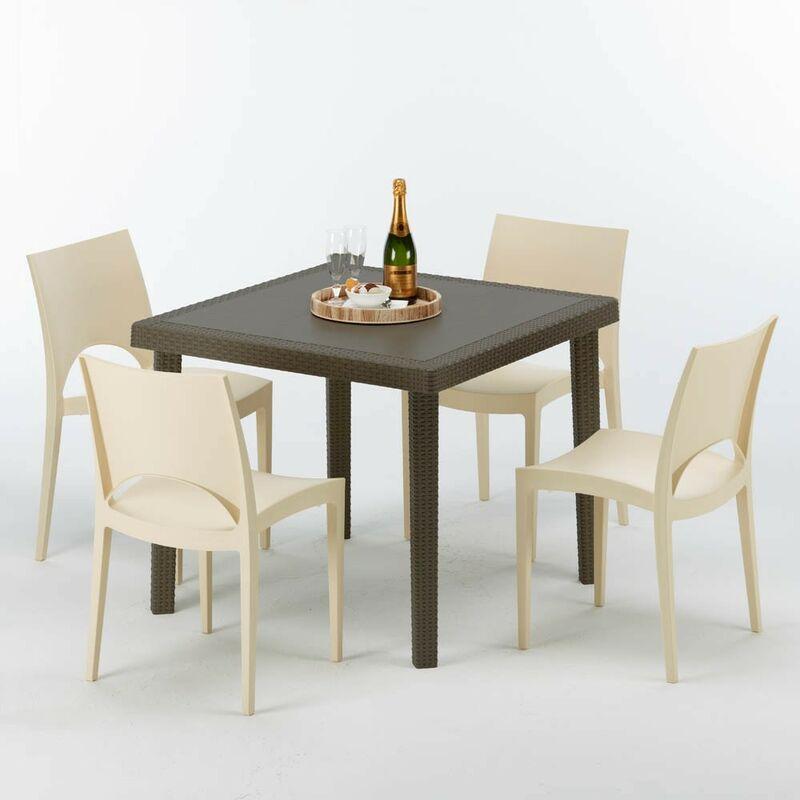 Table carrée et 4 chaises colorées Poly rotin résine 90x90 marron