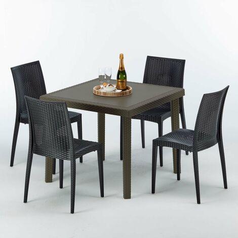 Table carrée et 4 chaises colorées Poly-rotin résine 90x90 marron