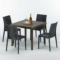 Table carrée et 4 chaises colorées Poly rotin resine 90x90 marron