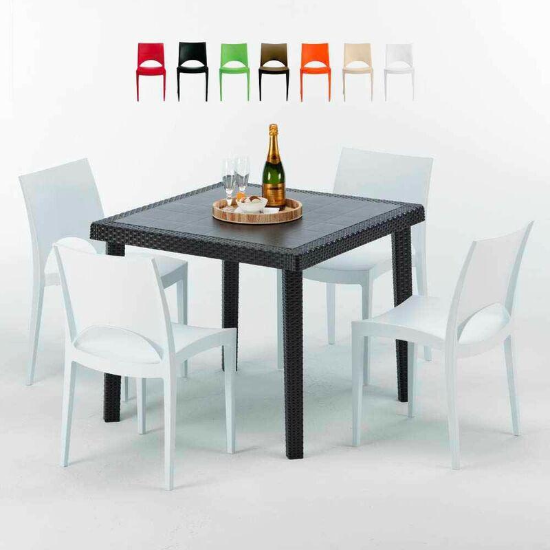 Table Carrée Noire 90x90cm Avec 4 Chaises Colorées Grand Soleil Set Extérieur Bar Café Paris Passion | Blanc