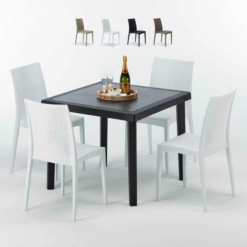 Table Carrée Noire 90x90cm Avec 4 Chaises Colorées Set Extérieur Bar Café Bistrot Passion | Blanc - Grand Soleil