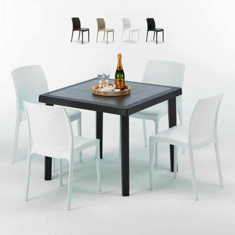Table Carrée Noire 90x90cm Avec 4 Chaises Colorées Set Extérieur Bar Café Boheme PASSION | Blanc - Grand Soleil