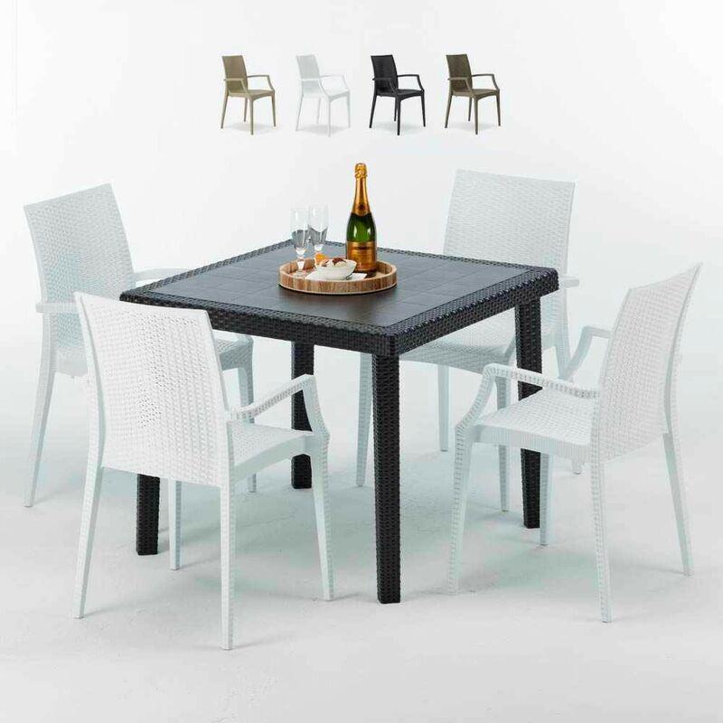 Table Carrée Noire 90x90cm Avec 4 Chaises Colorées Set Extérieur Bar Café ARM Bistrot Passion | Blanc - Grand Soleil