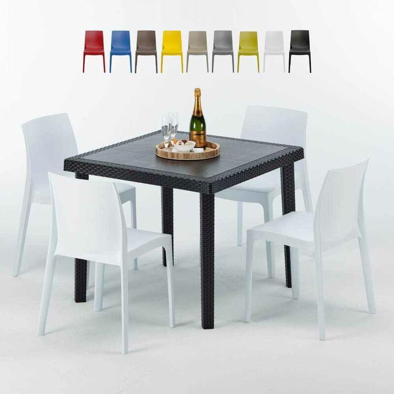 Table Carrée Noire 90x90cm Avec 4 Chaises Colorées Set Extérieur Bar Café Rome Passion | Blanc - Grand Soleil
