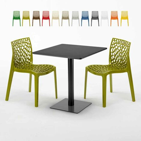 Table carrée noire 70x70 avec 2 chaises colorées GRUVYER KIWI
