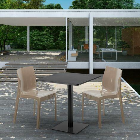 Table carrée noire 70x70 avec 2 chaises colorées ICE KIWI