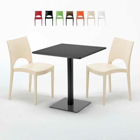 Table carrée noire 70x70 avec 2 chaises colorées PARIS KIWI