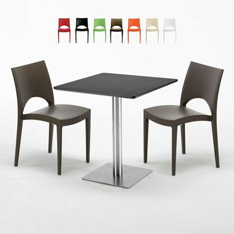 Table carrée noire 70x70 avec 2 chaises colorées PARIS RUM RAISIN