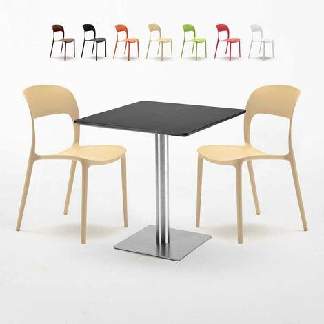 Table carrée noire 70x70 avec 2 chaises colorées RESTAURANT RUM RAISIN