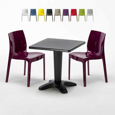 Table Carrée Noire 70x70cm Avec 2 Chaises Colorées Grand Soleil Set Bar Café ICE AIA