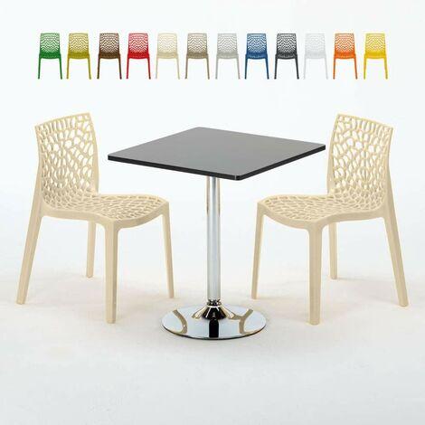 Table Carrée Noire 70x70cm Avec 2 Chaises Colorées Grand Soleil Set ...