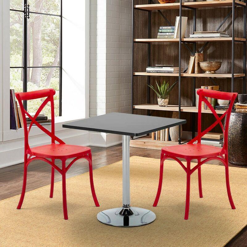 Colorées Chaises Intérieur Avec Set Table Carrée Bar 70x70cm 2 Noire 4LRjA35
