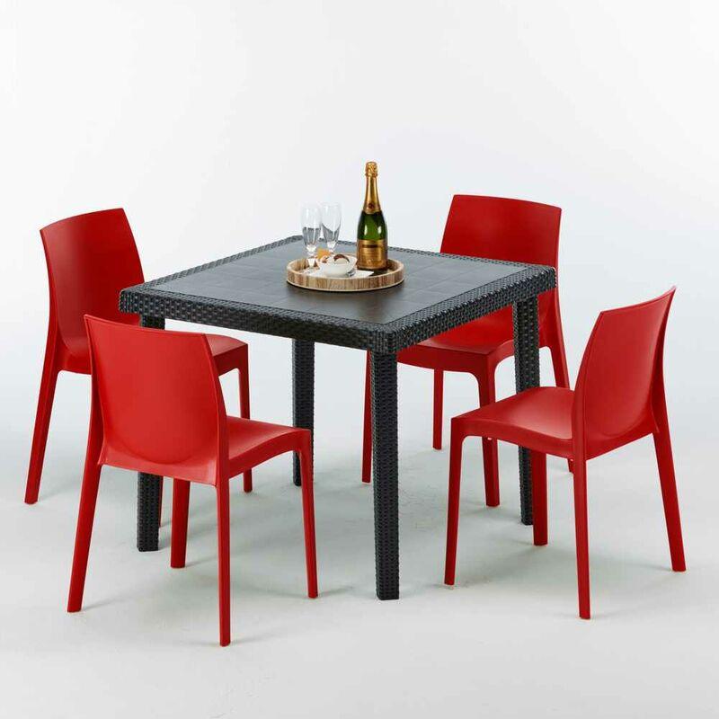 Table Carrée Noire 90x90cm Avec 4 Chaises Colorées Grand Soleil Set Extérieur Bar Café ROME PASSION