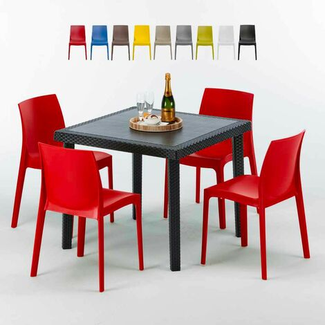 Table Carrée Noire 90x90cm Avec 4 Chaises Colorées Grand Soleil Set ...
