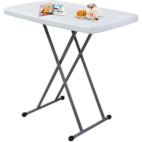 Table Compacte et Pliable, Table Pliante Ajustable, 76 x 50 x 51/63/74 cm, Blanc, Matériau: HDPE, Acier
