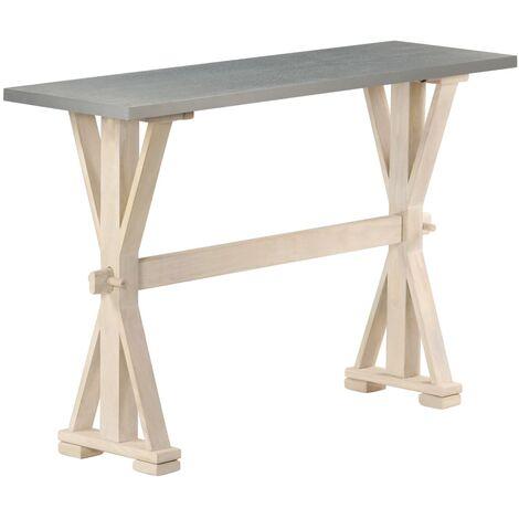 Table console avec dessus en zinc 118x35x76 cm Bois de manguier