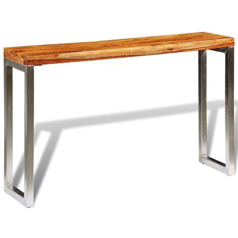 Table console avec pieds en acier Bois