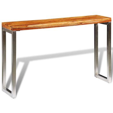 Table console avec pieds en acier Bois massif de sesham