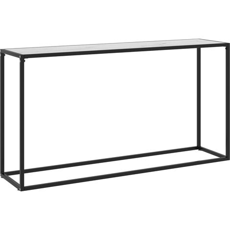 Table console Blanc 140x35x75 cm Verre trempé